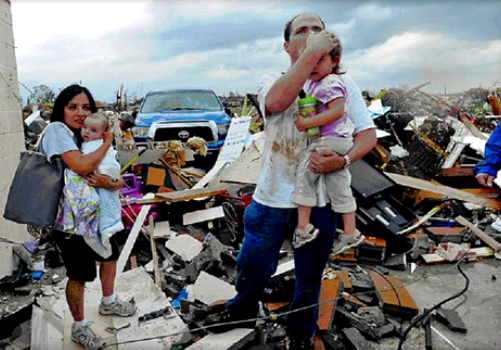Family Surviving Tornado by Storm Shelter
